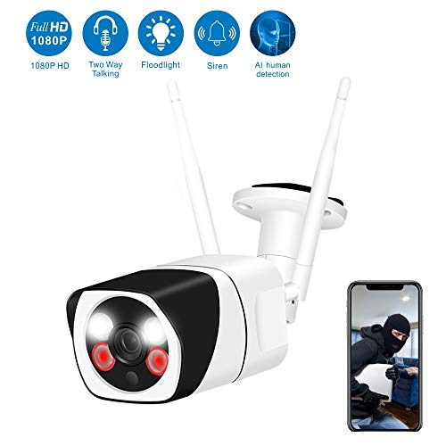 【Newest】Outdoor Security Camera,WESECUU 1080P WiFi Home Camera with Floodlight and Siren Alarm,Two Way Audio Security Camera with Intelligent Human Detection Color Night Vision for Home Shop Factory
