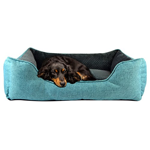 Cozy Cuddlerz C-03DL BLUE Luxurious Linen Pet Bed, 28″ x 23″ x 7″, Blue