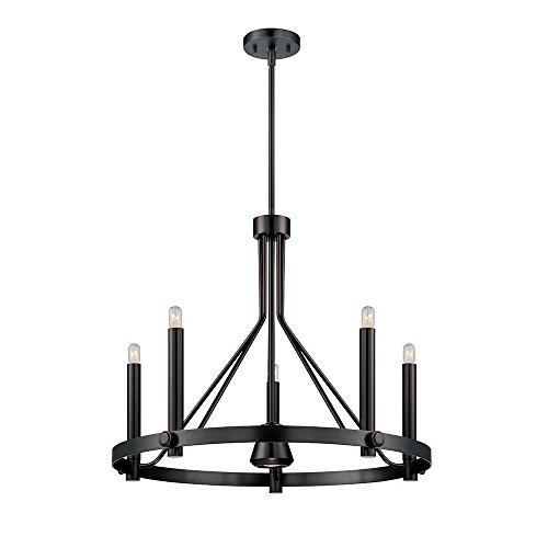 Nuvo Lighting 60/5243 Telegraph Five Light Chandelier with Downlight 40 Watt T9 Vintage S2420 Lamps Included Aged Bronze Fixture