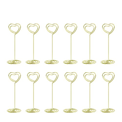 Table Photo Holder - Aieve 24 Pack Love Heart Shape Table Number Holders Place Card Holders Menu Clips Holders Stand for Wedding Party Gatherings Office Desk Memo Menu Table Photo Clips(Gold)