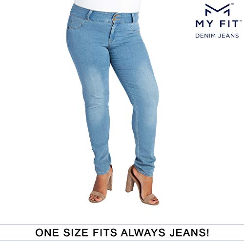 My Fit Jeans- SIZE 14-20 LIGHT WASH: Women's Stretch Denim Jeans with Pockets and the Comfort of Leggings, Petite through Plus Size ()