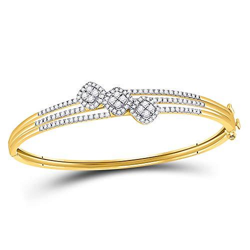 Mia Diamonds 14kt Yellow Gold Womens Round Diamond Triple Cluster Bangle Bracelet (1.25cttw) (I1-I2)