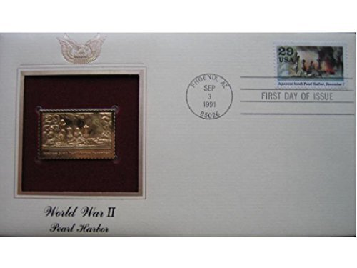 - PEARL HARBOR WW II 22kt Gold Stamp First Day Issue FDI FDC Replica Golden Cover