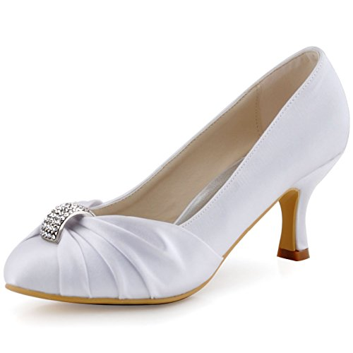(ElegantPark HC1526 Women Pumps Mid Heel Closed Toe Brooch Ruched Satin Bridal Wedding Shoes White US 7)
