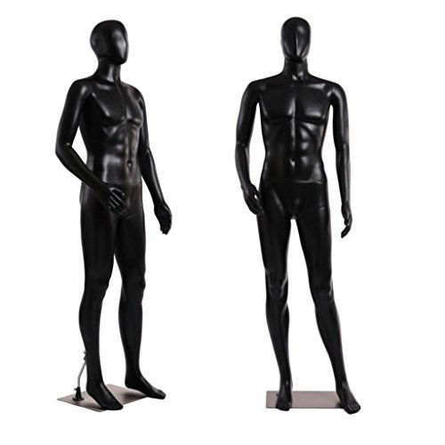 Standing Male Adult Mannequin (Black Egghead) + Base - Mannequin Full Body Male