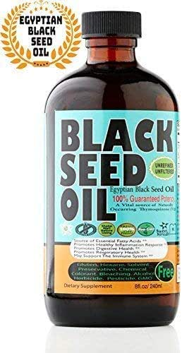 Egyptian Premium Black Seed Oil Liquid - 2.20%+ Thymoquinone Cold Pressed Source of Omega 3 6 9 Black Cumin Seed Oil from 100% Genuine Nigella Sativa - 8 oz Glass Bottle by Sweet Sunnah