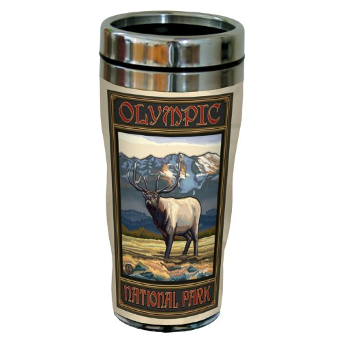 Tree-Free Greetings sg23179 Vintage Olympic National Park Elk by Paul A. Lanquist Stainless Steel Sip 'N Go Travel Tumbler, 16-Ounce, Multicolored