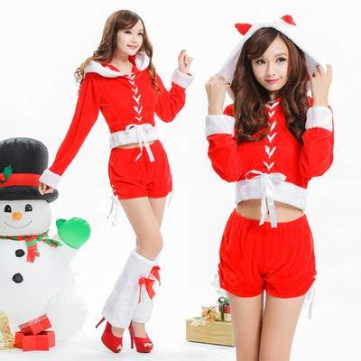 GBYNB Halloween Costume Female Christmas Costume red Shorts Christmas Costume Uniform Party Temptation Nightclub Performance Clothing -
