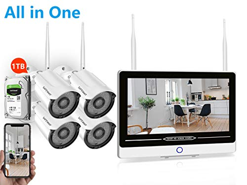[All in One] Security Camera System 1080P,Safevant 8CH 1080P H.265 NVR&Monitor Security Camera System Wireless with 4PCS 1080P Inddor/Outdoor Wireless Security Cameras,Pre-Installed 1TB HDD,Auto Pair
