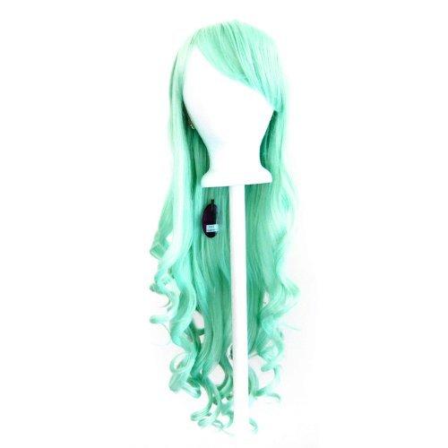 Ayumi - Mint Green Wig 29'' Long Curly Cut w/ Long Bangs by Purple Plum Inc.