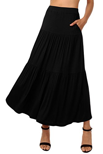 DJT Women's Crinkle Tiered Bohemian Maxi Skirts with Pocket L Black (Solid Crinkle Skirt)