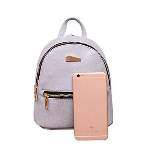 Backpack Shoulder Satchel College Travel Pocciol Women School Pink Bag Rucksack Leather Gray Bags wOnAxE8qIx