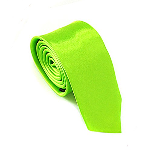 Mens Plain Color 100% Polyester Skinny Necktie Used for Business Formal Occasions Neon Green