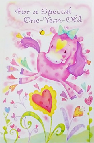 For a Special One Year Old - Happy 1st Birthday Greeting Card for Girl w/ Unicorn -