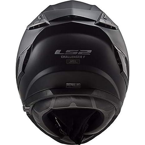 65-66cm LS2 FF327 Challenger Fiberglas Fullface Helm Motorrad Helm mit Doppelvisier Roller Motorradhelm Damen und Herren Integralhelm Mattschwarz 3XL