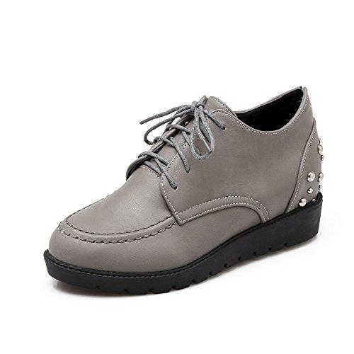 Amoonyfashion Donna Lace Up Pu Tacco Tacco Chiuso Tacchi Scarpe Solide Pompe-scarpe Grigie