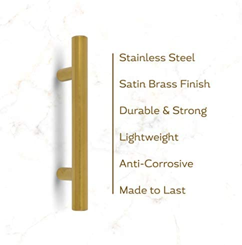 35-Pack Satin Brass Gold Cabinet Pulls 5-Inch Stainless Steel Cabinet Pulls for Kitchen Cabinet, Drawer, Door, or Cupboard Decorative Modern Hardware for Cabinets Compatible to Different Cabinet Style