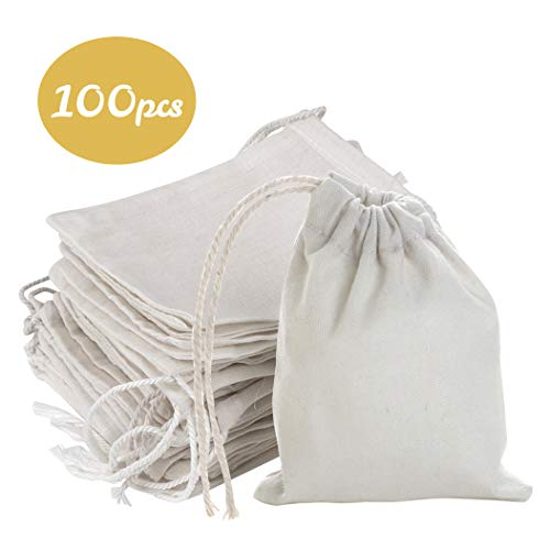 """FLAIRYLAND 4"""" X 3"""" Natural Linen Burlap Bags with Jute Drawstring for GiftBags Wedding Party Favors Jewelry Pouch, ChristmasBirthday Presents, Snack Sacks and DIY Craft Arts Projects, Lot of 100"""