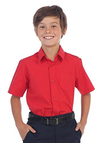 Gioberti Boy's Short Sleeve Solid Dress Shirt, Red, ()
