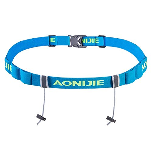 - BESIXER Triathlon Marathon Race Number Belt With Gel Holder Running Belt Cloth Belt for Runners, Blue-NEW