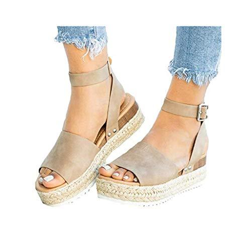 Dressin Womens Espadrilles Platform Sandals Wedge Ankle Strap Studded Open Toe Summer Sandals Khaki