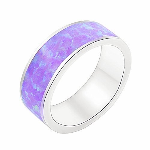 - Stackable Purple Fire Opal Silver Plated Eternity Band Ring 6.5mm Size 7