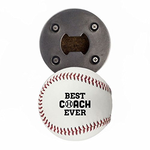 Baseball Bottle Cap (Baseball Coach Gift, Bottle Opene made from a real Baseball, Best Coach Ever, Cap Catcher, Fridge Magnet)
