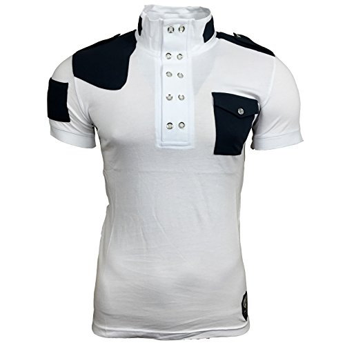 Polo T Shirt Herren Männer Poloshirt Jungs mit Motiv Print Druck A14326-2RN, Größe:M, Farbe:Schwarz / Türkis