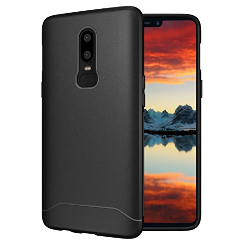 OnePlus 6 Case, TUDIA [ARCH S Series] Slim-Fit HEAVY DUTY Drop-Proof Lightweight Flexible Soft TPU Protective Shock Absorption Minimal Design Polyurethane Phone Case for OnePlus 6 (Black)