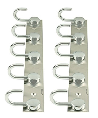 DOCOSS ®  Set of 2 Button 5 Pin Bathroom Hooks Cloth Hooks Hanger Wall Hooks Rail Robe for Hanging Keys,Clothes,Towel Steel Hook