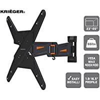 KRIËGER KCX2355 Full Motion Swivel Articulating 16.5 inches Extension Arm TV Wall Mount LED LCD Plasma 23-55 TVs fits up to VESA 400x400, 66lbs, with a Flush 1.8 Profile