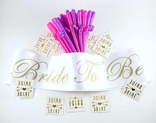 Bachelorette Party Supplies | Bridal Veil and Sash, Bride Tribe Temporary Tattoos, Adult Party Straws | Great for Parties or Bridal Showers | Favors, Supply Ideas, Pack 44 pcs.