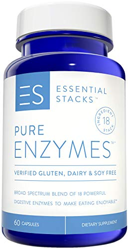 (Essential Stacks Pure Digestive Enzymes - Gluten Free, Dairy Free & Soy Free with 3rd Party Verified Allergen Testing - Smart Blend of 18 Powerful Digestive Enzymes So You Can Digest All Food Groups)