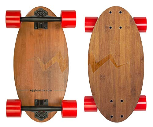 Eggboards Mini Longboard Cruiser Skateboards - Mini Skateboard with Wide Cruiser Skateboard Deck 19 inch in Bamboo Wood and Big Longboards Wheels
