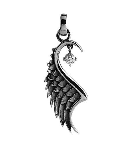 Stainless Steel Angel Wings Pendant w/Faceted Crystal Stone