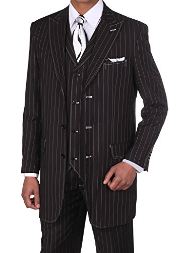 [Fortino Landi Men's 3 Piece Gangster Pin-Striped 3 Button Suit w/ Vest 5903 (42 Regular, Black/White)] (Mens Gangster Suits)