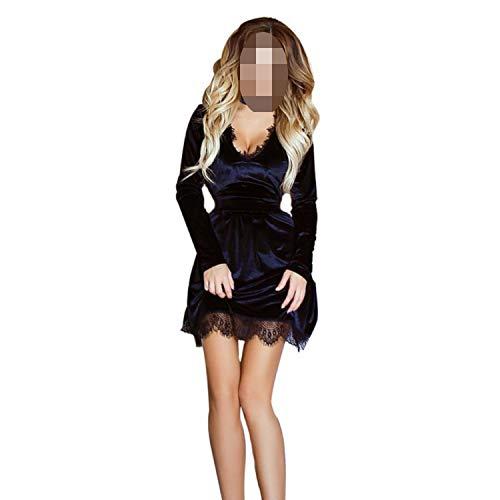 Spring Newly Style Women Velvet Deep V-Neck Long Sleeve Lace Dress Sexy Casual Mini Dress,Black,L