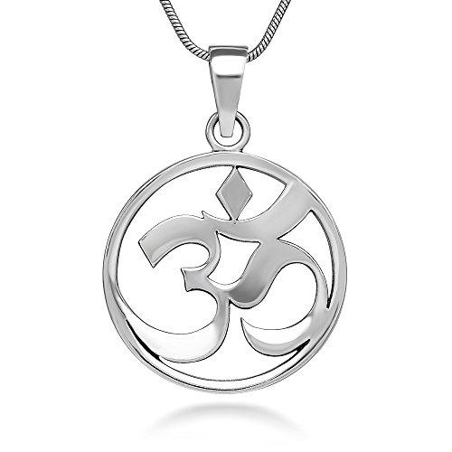 Chuvora Sterling Silver 24 mm Open Aum Om Ohm Sanskrit Symbol Yoga Charm Pendant Necklace 18''