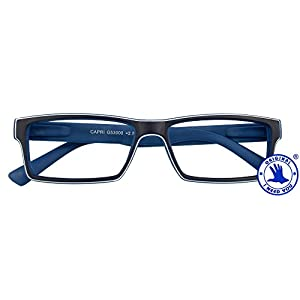 I NEED YOU Reading Glasses Blue Capri Designer Square Frames - Eyeglasses For Men & Women With Spring Hinge And High-Quality Plastic - Prescription Eyewear – Power +2.5