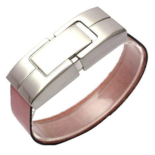 2 Gb Usb Bracelet (Voberry® Leather Bracelet USB 2.0 Metal Flash Memory Stick Storage Thumb U Disk (2GB , Brown))