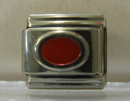 9mm Red Oval Italian Charm - Charm Italian Stone Oval