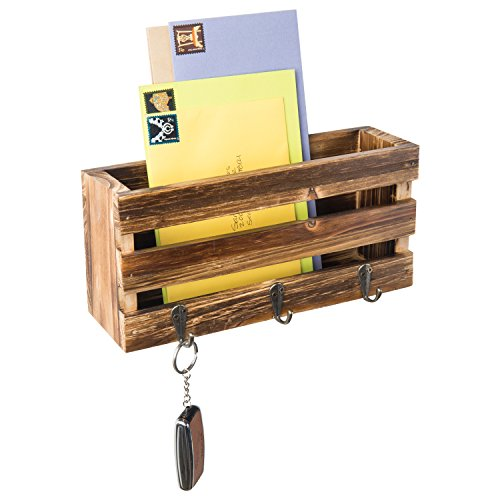 MyGift Rustic Crate-Style Wall Mounted Mail Sorter with 3 Key Ring Hooks