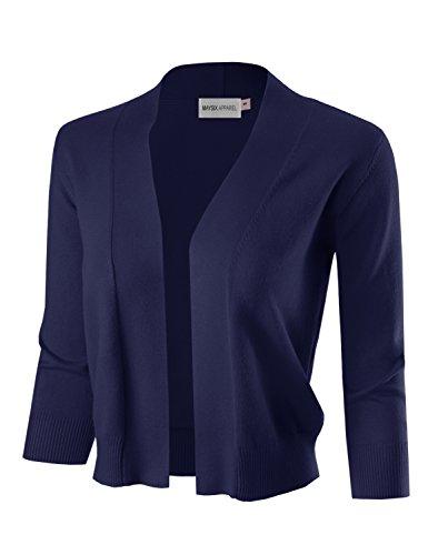 MAYSIX APPAREL 3/4 Sleeve Solid Open Bolero Cropped Cardigan For Women NAVY XL 3/4 Sleeve Bolero
