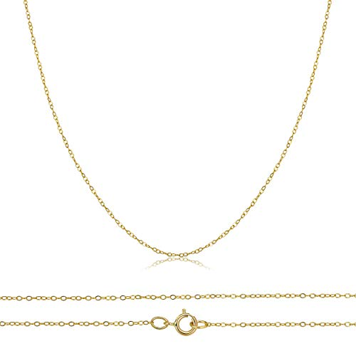 14k Rolo (14K Solid Yellow, White Rose Gold 0.5mm Diamond Cut Cable Pendant Chain, 18