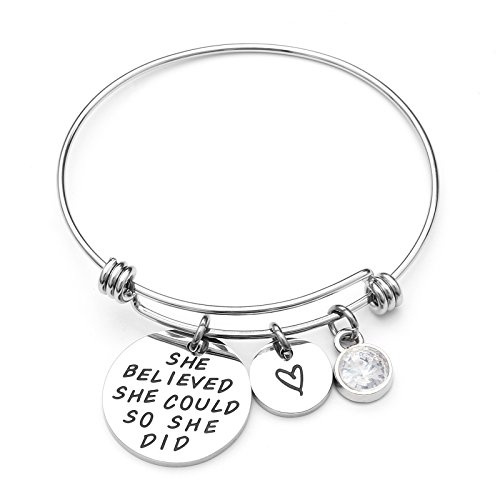 LIUANAN She belived she Could so she did Inspirational Bracelet Expandable Bangle Birthstone Stainless Steel Cuff (Diamond-April) ...