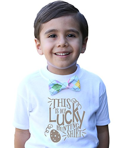 12e24be07bbe Noah's Boytique Toddler Boy Easter Outfit with Pastel Argyle Bow Tie Lucky  Egg Hunting Shirt Cute