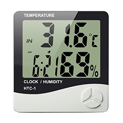 Indoor Digital Humidity Meter Hygrometer Thermometer with Large LCD Display Temperature Alarm Clock (HTC-1) by SEKway