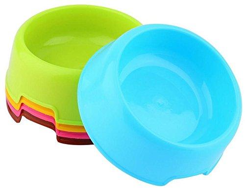 Zeroyoyo 3pcs Pet Supply Plastic Food Feeding Water Dish Bowl Feeder for Dog Cat Puppy, Color Random