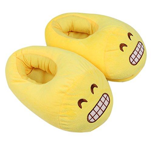 Dammer Katoen Emoji Pantoffels Warme Gele Pantoffels, Pluche Schattige Winterschoenen Neutrale Volwassen Tiener Schoenen Slippers Kinderen En Vrouwen