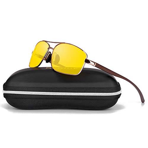 Sports Polarized Sunglasses For Men-Scolor Rectangular Metal Frame Ultra Lightweight UV402(Gold/Yellow)